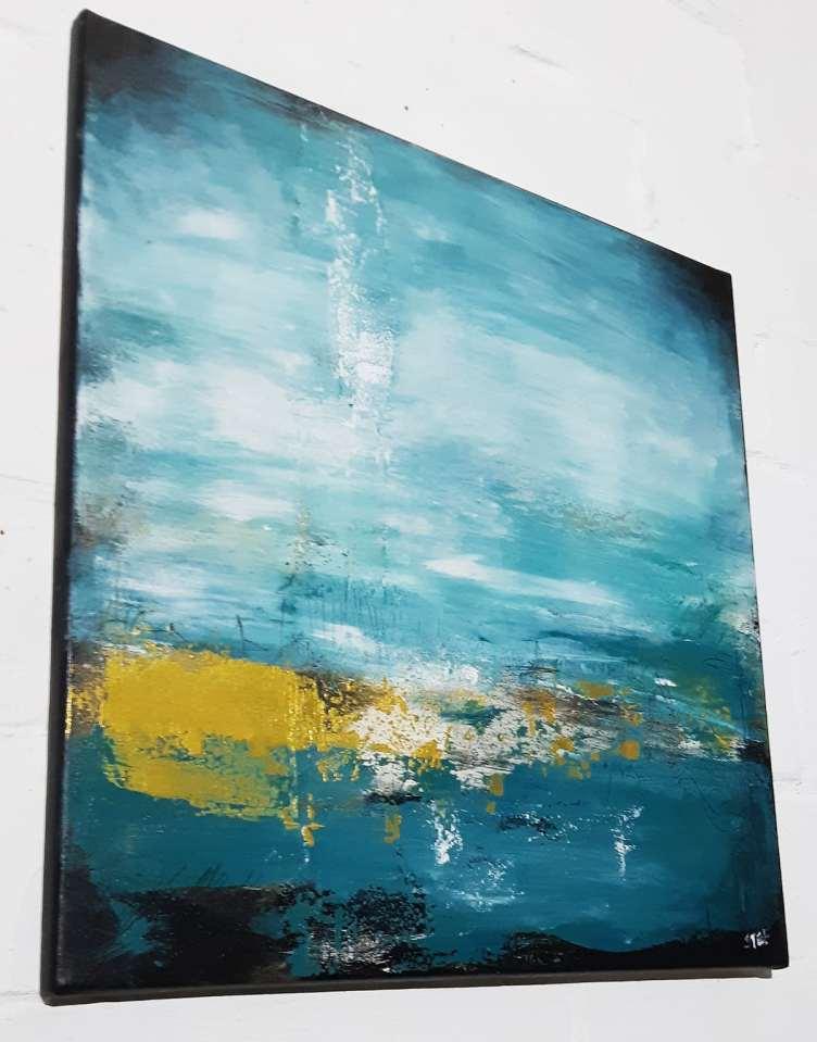 OZEAN FARBEN-Original abstrakte Kunst Türkis, strukturiert, in den Farben von Küste und Meer, Colorfield, von Stefanie Rogge käuflich