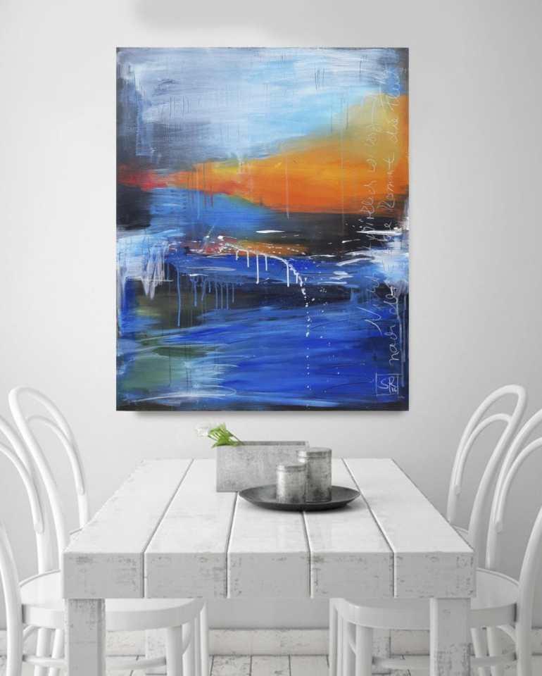 NACH DER EBBE KOMMT DIE FLUT -abstraktes Unikat von Künstlerin Stefanie Rogge, abstrakt, Küstenlandschaft, maritim , modern ** direkt im Atelier kaufen