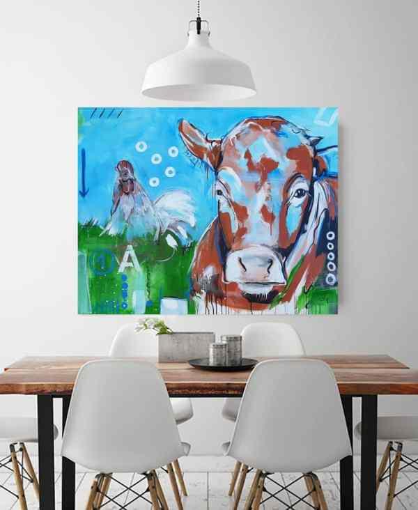ORIGINAL expressive Malerei von Stefanie Rogge 1A Kalb mit Hahn, Gemälde Kuh