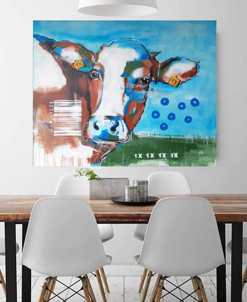 ORIGINAL expressive Malerei von Stefanie Rogge Kuh 1X, Gemälde Kuh