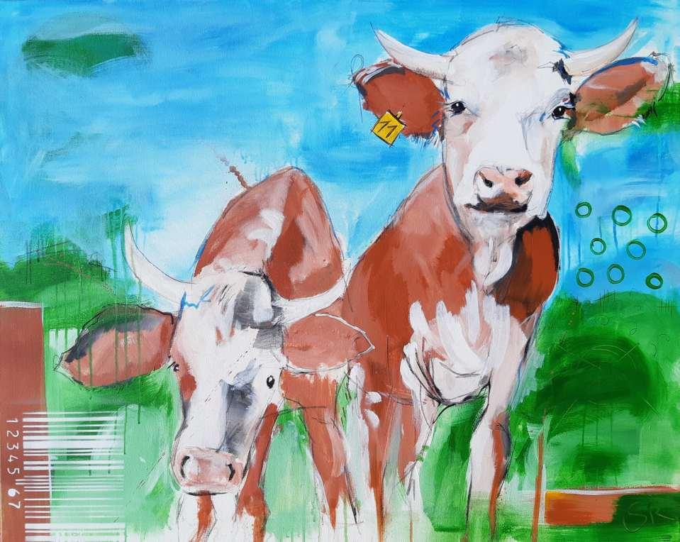 ORIGINAL zeitgenössische Malerei von Stefanie Rogge KUH NR 11, Gemälde Kuh Kuh Bild gemalt