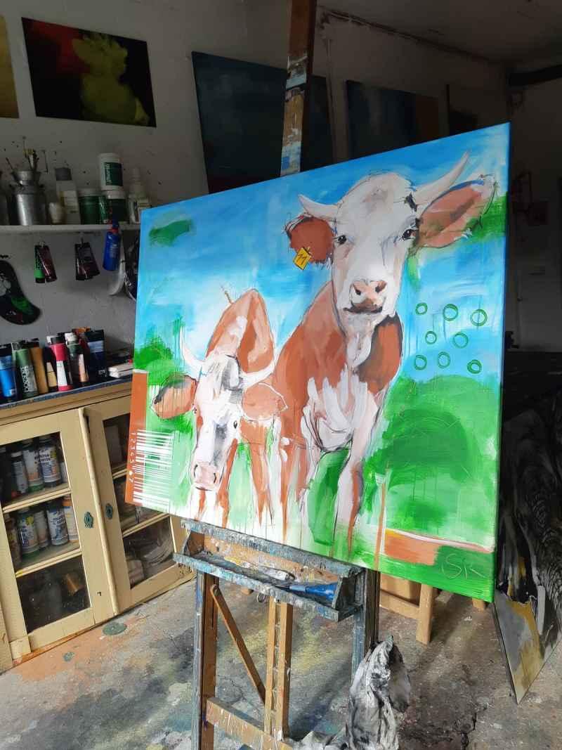 Im Atelier -ORIGINAL zeitgenössische Malerei von Stefanie Rogge KUH NR 11, Gemälde Kuh Kuh Bild gemalt