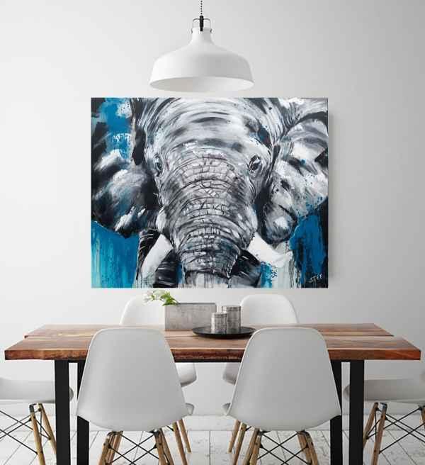 Elefant aus der Werkserie One of the big five von Künstlerin Stefanie Rogge. Expressiver Malerei