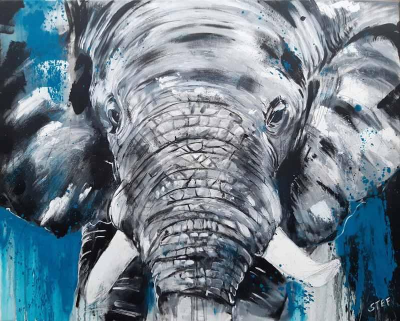 Original Gemälde: Wandbild Elefant, expressive Malerei von Stefanie Rogge