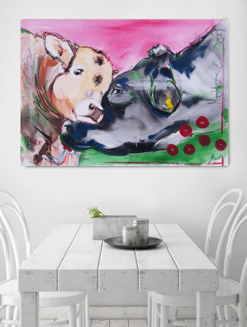 """bild kuh leinwand: Kalb und Kuh aus der Werkserie """"Kühe codiert"""" von Künstlerin Stefanie Rogge ** als hochwertiger Artprint zu bestellen"""