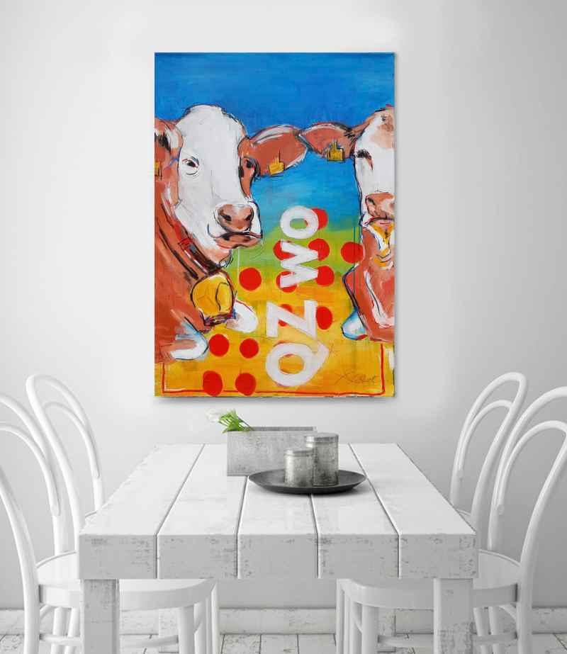 Malerei von Stefanie Rogge - Pop Art Kuh - 70 x 100 cm auf Leinwand, Typografie, Original Malerei