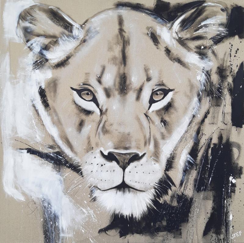 Wandbild Löwin Löwe, zeitgenössische Malerei von Stefanie Rogge, Original Gemälde direkt ab Atelier kaufen