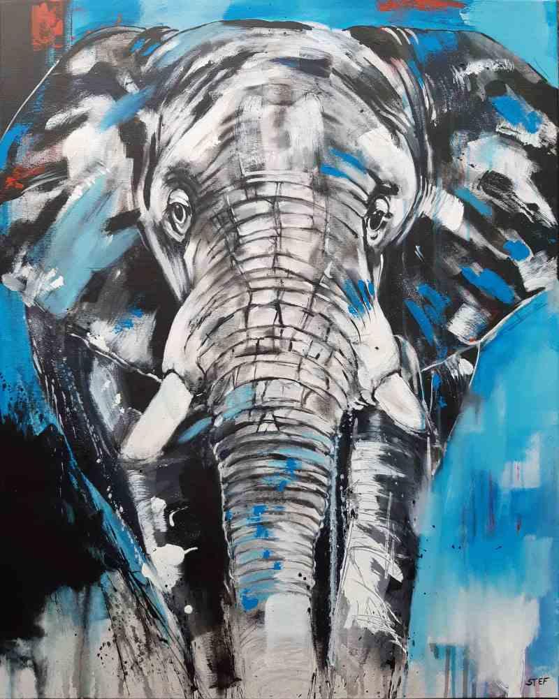 Original Kunst Elefant von Stefanie Rogge - buntes Elefantenbild von Stefanie Rogge