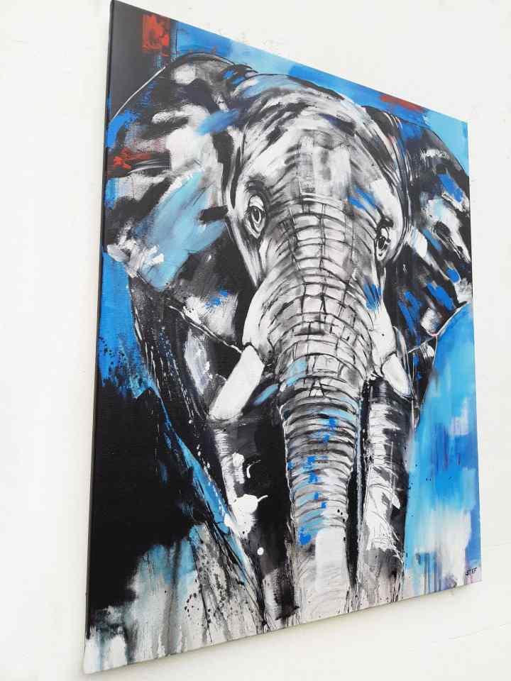Kunst Shop: Gemälde eines Elefantenkopfes auf 80 x 100 cm Leinwand von Stefanie Rogge