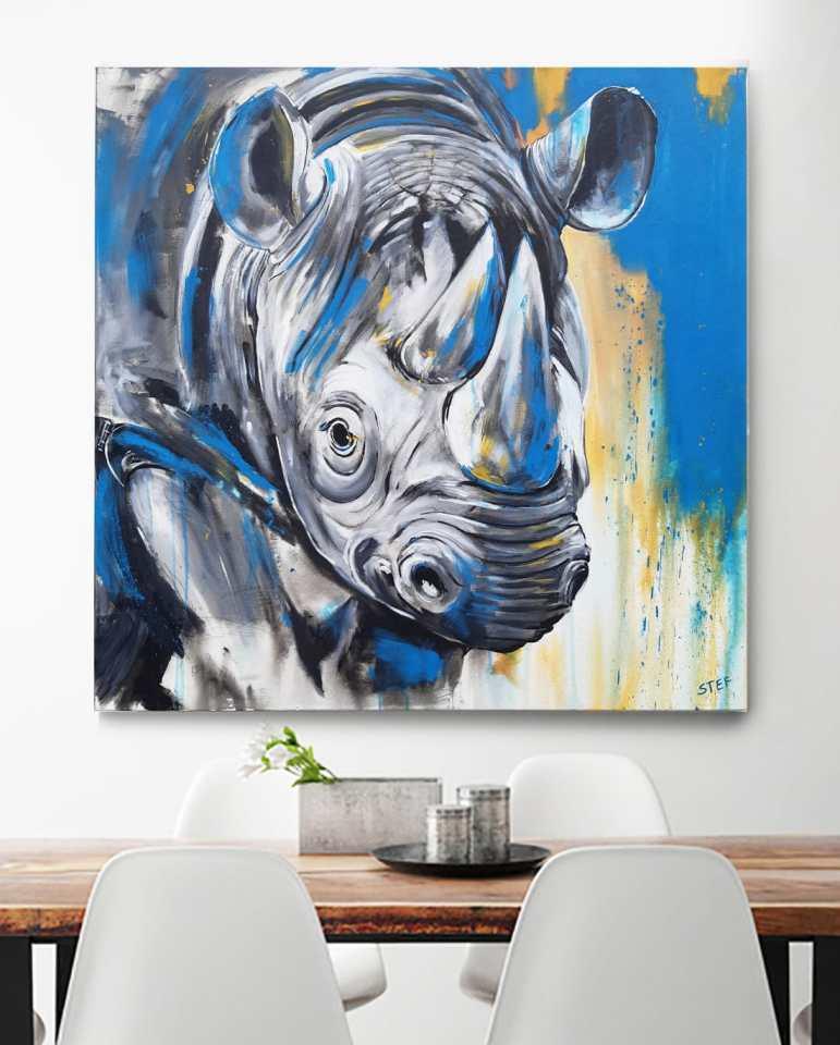 Nashorn Gemälde von Stefanie Rogge