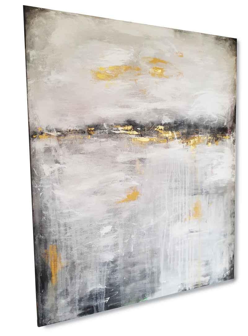Malerei in Grau und Gold, zeitgenössische Malerei von Stefanie Rogge