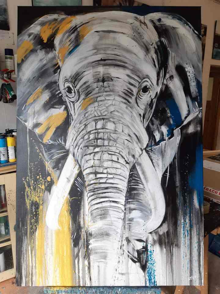 """Gemälde """"Elefant #1"""", zeitgenössische Kunst"""