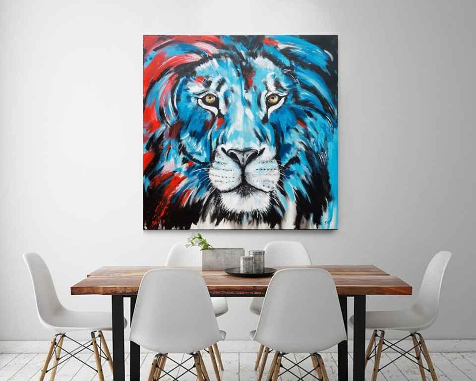 Löwe Wandbild bunt