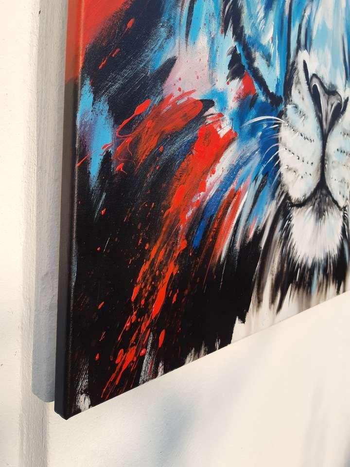 Detail vom Gemälde Löwe bunt