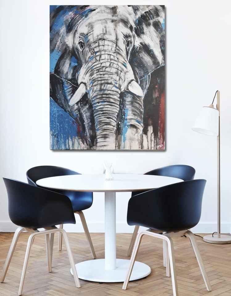 Elefantenkopf Unikat Gemälde