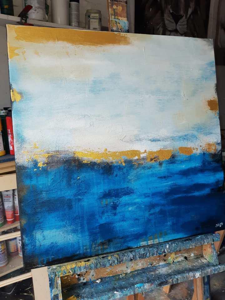 Unikat Küstenlicht, abstrates Gemälde in Blau und Gold