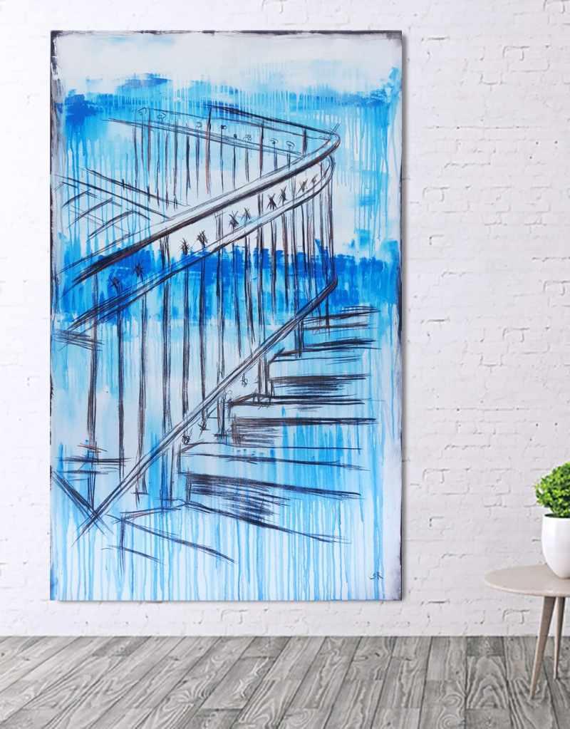 Treppe abstrakt, großes modernes Leinwandbild