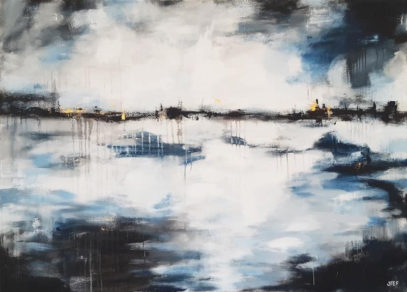 abstraktes großes Gemälde