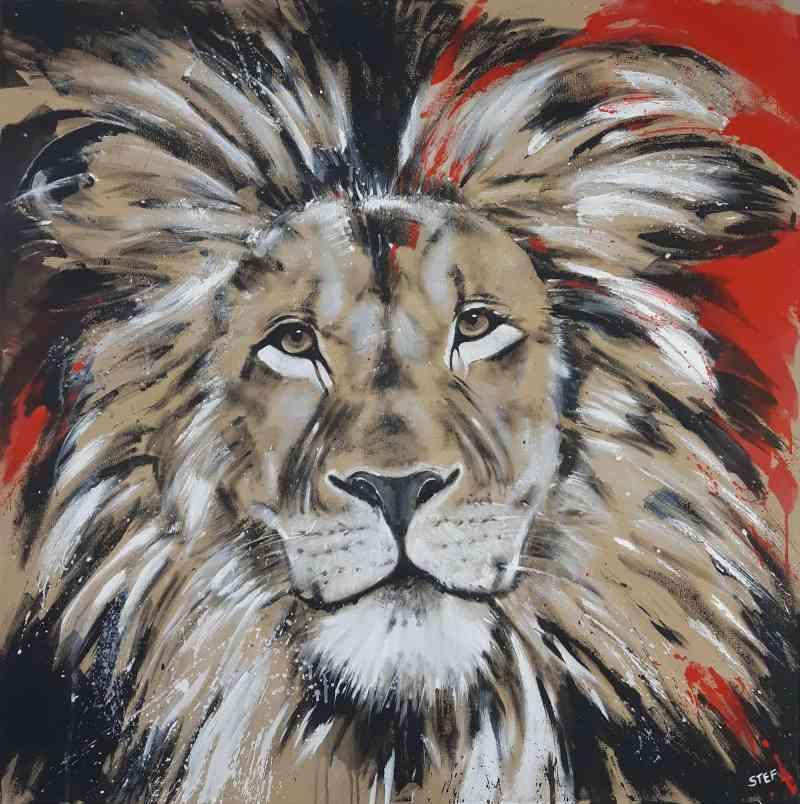 Löwe Gemälde bunt, Original auf Leinwand, zeitgenössische Malerei von Stefanie Rogge