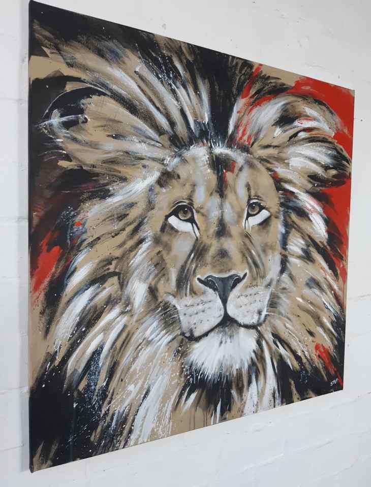 Löwe bunt, Leinwandbild