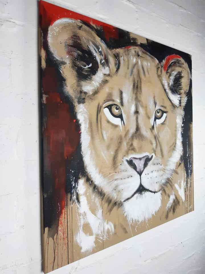 Löwin #6   Gemälde auf Leinwand von Künstlerin Stefanie Rogge