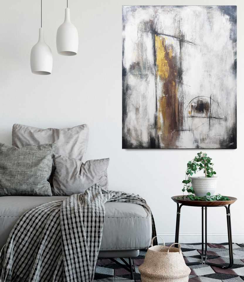 abstraktes Gemälde Gold