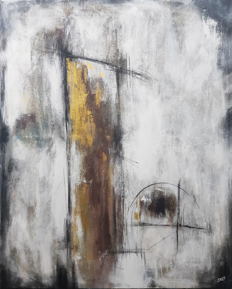 abstraktes Gemälde KLIPPE IN GOLD