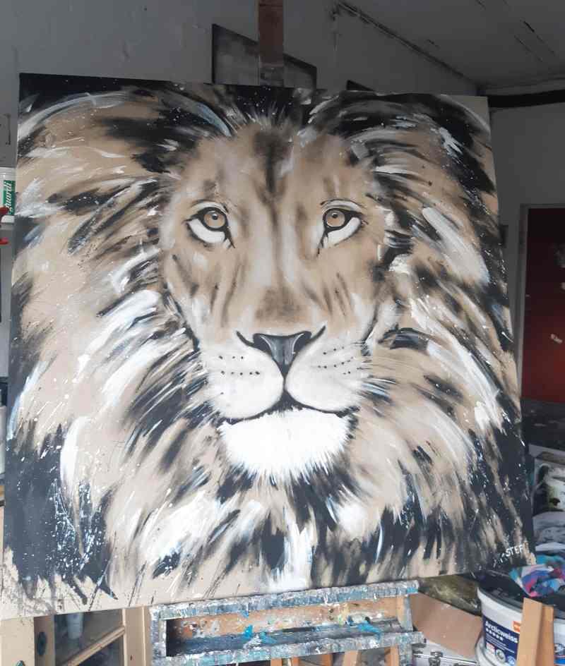 Gemälde Löwe auf Staffelei
