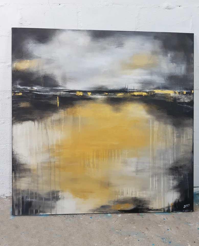 abstrakte Acrylbild in Ocker und Grau