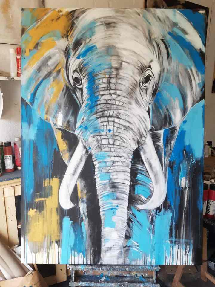 XXL Gemälde Elefant bunt