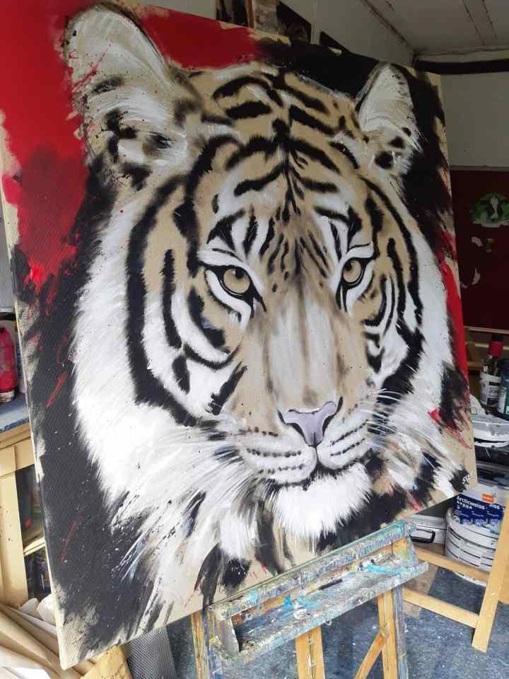 Tiger Gemällde Atelier