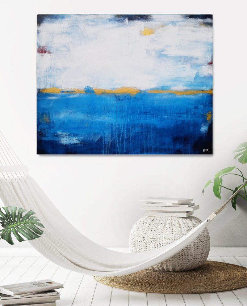 Abstraktes Gemälde in Blau und Gold