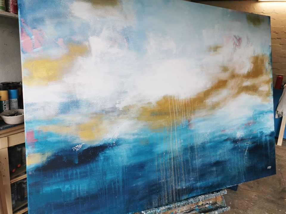 Großes moderne Gemälde Blau und Gold