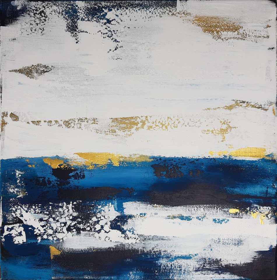 Abstrakte Kunst in Blau 'Salzwasser' von Stefanie Rogge