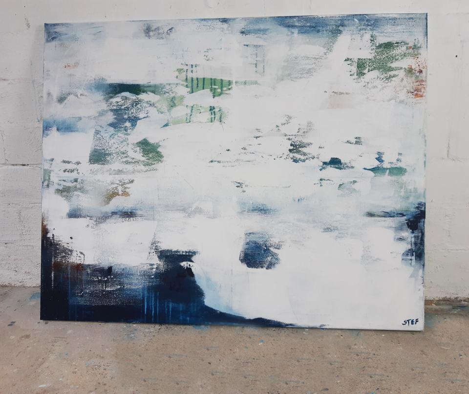 abstraktes Gemälde Weiß