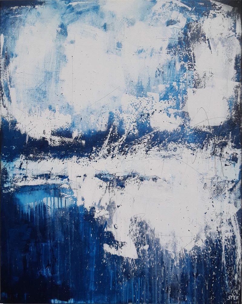 Abstrakte Kunst in Blau und Weiß