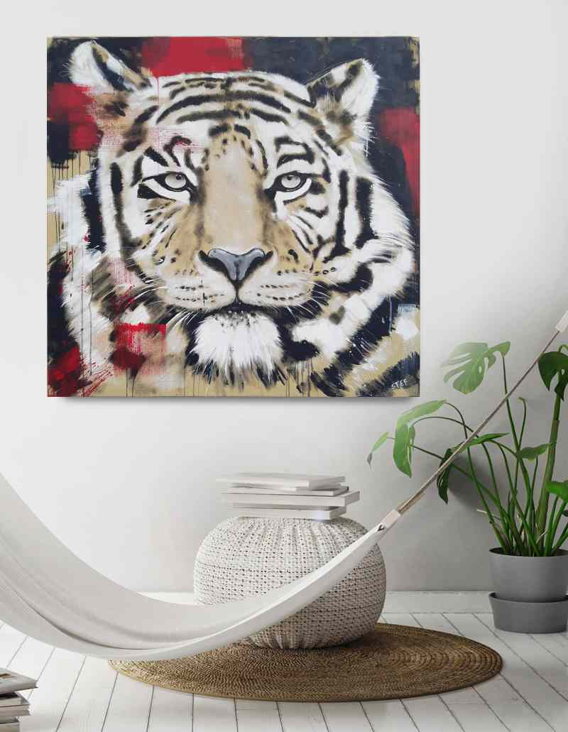 Tigerkopf Gemälde Stefanie Rogge