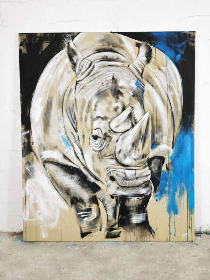 Original Gemälde Nashorn