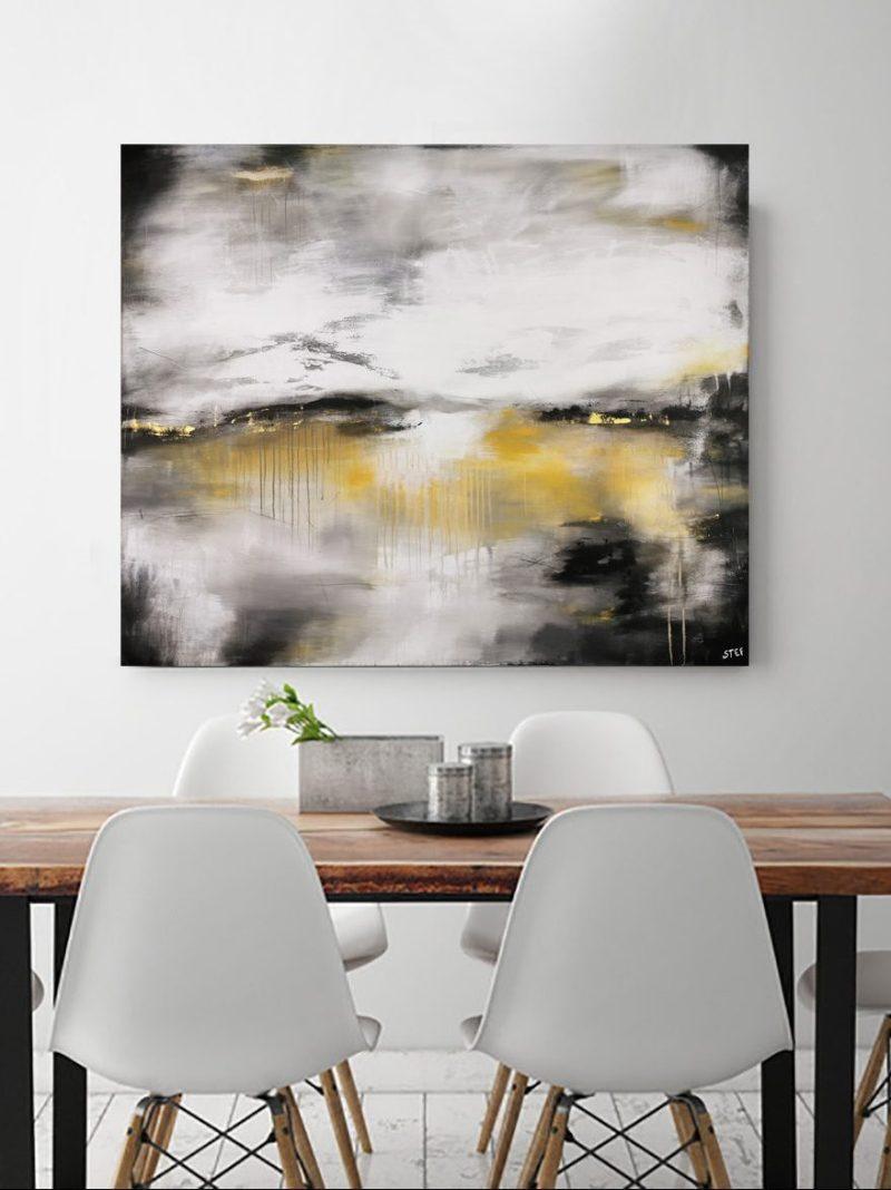 Original Gemälde Grau Gold