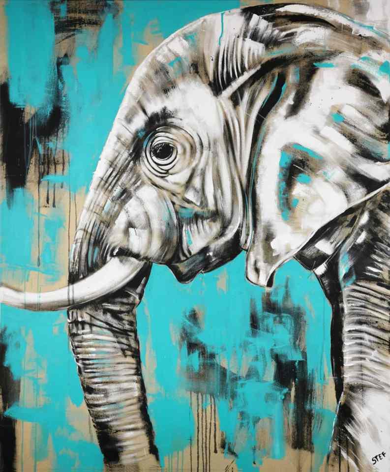 Acrylgemälde Elefant