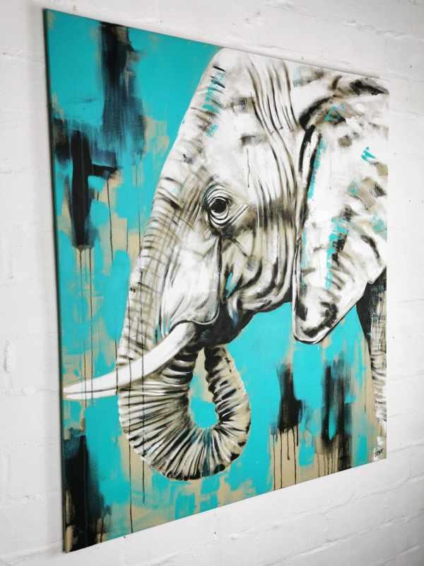 Gemälde modern Elefant Türkis