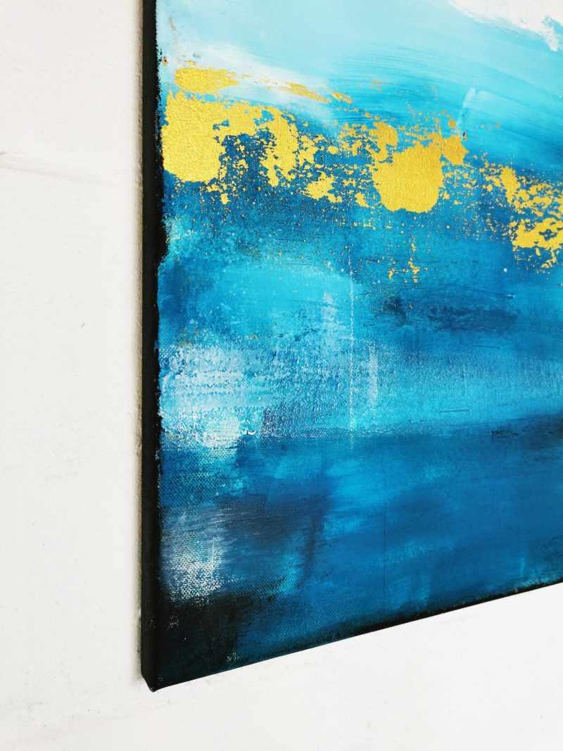 abstrakte kunst blau gold