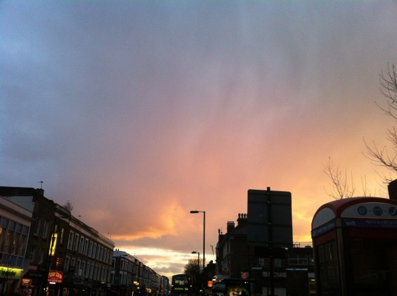 Sunrise in London, England - reminding us of our time with the Lord in the morning! The sky seems to be on Fire!