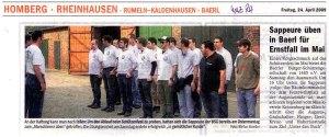 24.04.2009, WAZ: Sappeure üben in Baerl für den Ernstfall im Mai