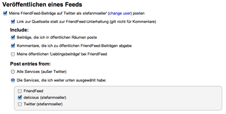 Einstellung friendfeed