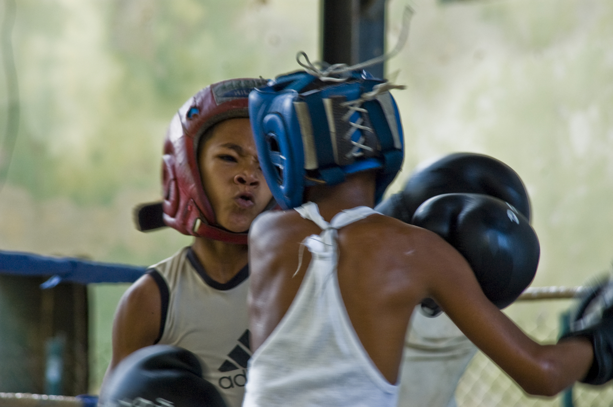 "Young boxers training at the Cubal Boxe club ""Boxeo Rafael Trejo""."