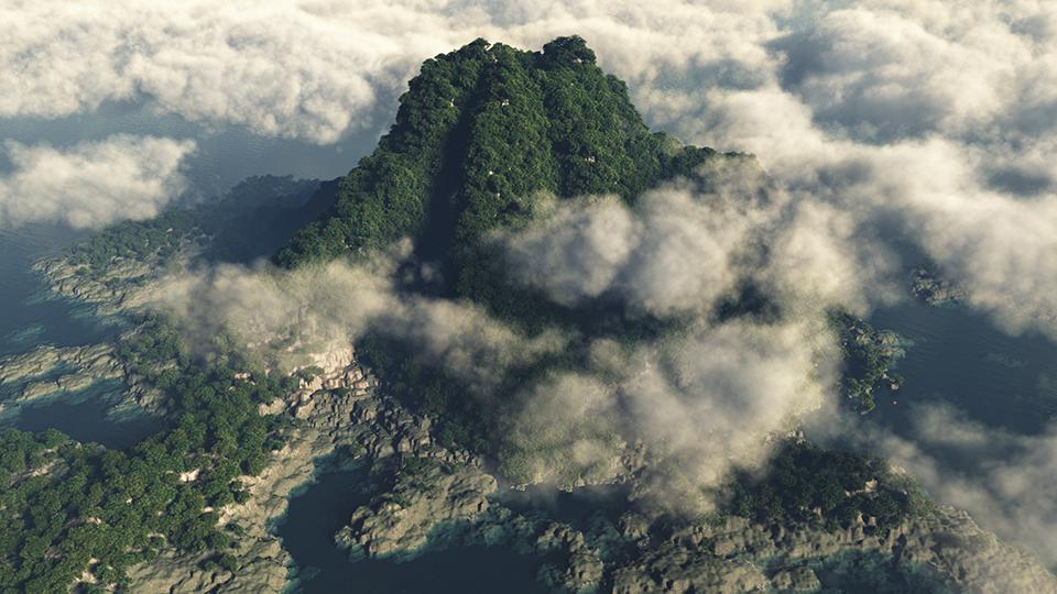 Isola vulcanica tropicale, con tante nubi - 3D