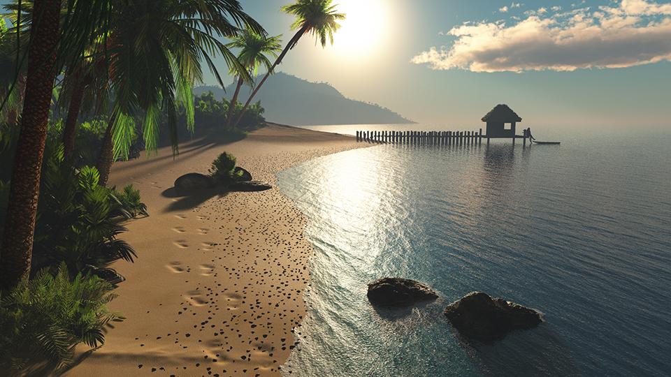 Spiaggia tropicale, con palme - 3D