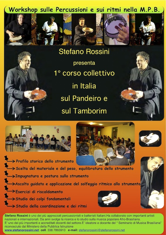 Corso collettivo di Pandeiro e Tamborim... Stefano Rossini scuola di percussioni Roma