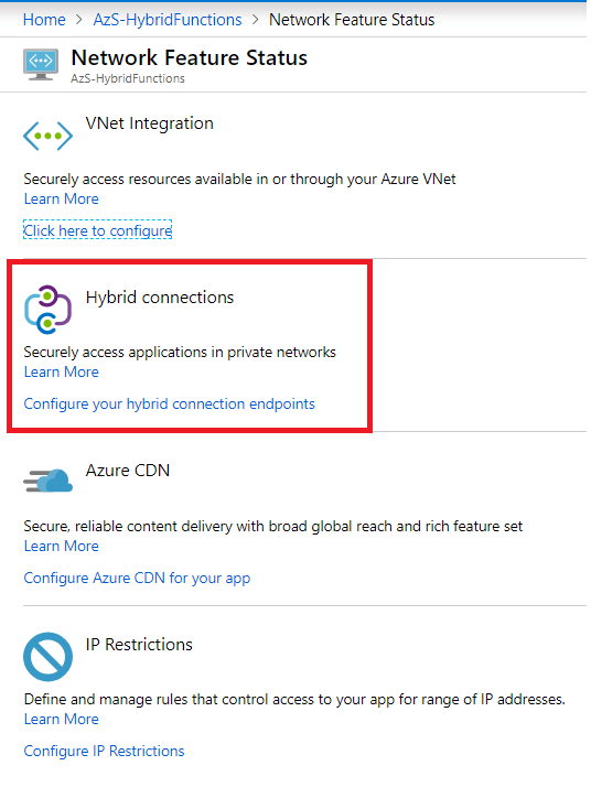 Azure Functions – Azure Functions Using Hybrid Connections